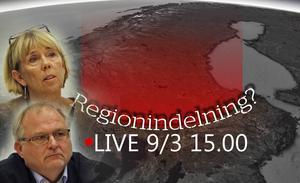 Klockan 15 börjar vi livesända från presentationen av den nya regionindelningen.