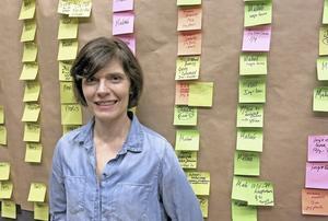 Alexandra Zetterberg Ehn har försökt få ordning på barndomens kronologi med en tavla med post-it-lappar.