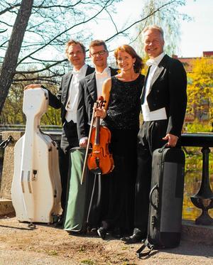 Wirénkvartetten. Hanna Thorell är inte med på bilden, men däremot hennes vikarie på cello, Andreas Tengberg, som står längst till vänster.Arkivfoto: Erik Elvkull