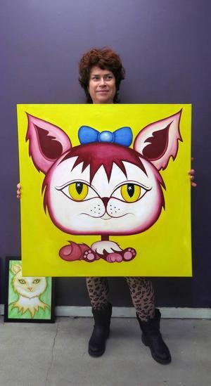 Helena Spak, Gävle, ligger bakom kattutställningen i Galleri Sideshow och det här är en av hennes egna målningar.