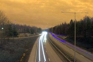 Fredagkväll vid E18 genom Västerås