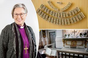 Biskop Eva Nordung Byström vill visa på att kyrkan och politiken följs åt. Foto: Kerstin Stickler & TT