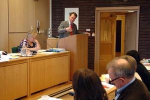 FÖRKLARING. Daniel Blomstedt, m, fick förklara för Håkan Thomsson, mp, vad moderaterna vill i badhusfrågan.