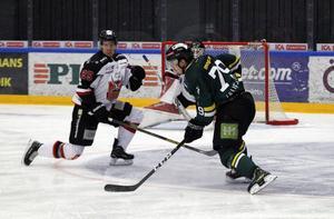 Poängkungen David Lillieström-Karlsson fick inte hål på Hudiksvalls försvar under premiärmatchen i allettan.