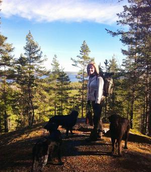 Flitiga besökare. Mikaela Mattsson vandrar ofta den brantaste stigen upp till Landsbergets topp. Hennes hundar trivs i den kraftigt kuperade terrängen. Foto: Ola Wahlsten