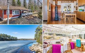 Den som budar hem det här fritidshusset med strandtomt vid Väsman får både sjöbod och brygga vid vattnet.