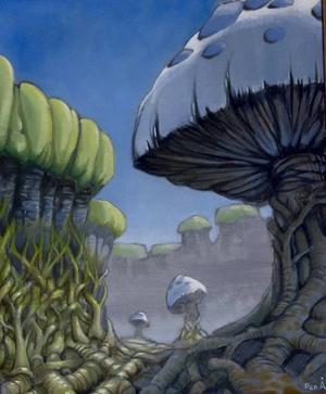 Surrealistiskt. Per Åleskogs svampmålningar uttrycker en glädje över skapandet.
