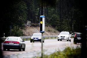 Fartkamera på E4:an mellan Iggesund och Hudiksvall.