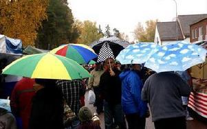Paraplyer överallt och av olika slag, med moln, solar och katter. Det regnade större delen av dagen.FOTO: BENGT OLDHAMMER