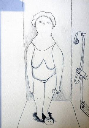 Dam i duschen, på duk.