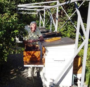 Roland håller upp en honungsram fylld med 2 kg honung, som nu kan slungas.