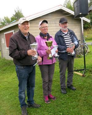 Vinnande laget Lit-Häggenås 1 bestod av spelarna Bror Arhusiander, Ally Arhusiander och Sören Adill.   Foto: Lisa Norrman