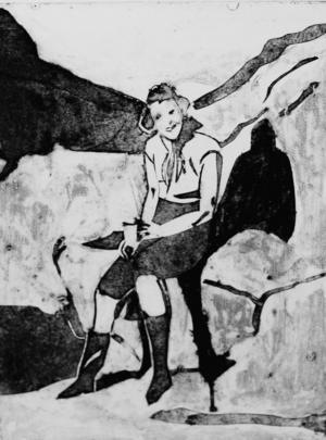 Ett pappsnitt utifrån ett gammalt foto påYlva Hagerlinds mamma är ett av motiven på Härke.