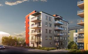 Så här ska Peabs nya hus med 84 lägenheter se ut med säljstart i början av oktober. Man har fått bygglov men ännu inte startbesked från kommunen, vilket innebär klartecken för att börja bygga.