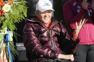 Anna Holmlund var vid gott mod när rullskidbanan invigdes på Alnö.