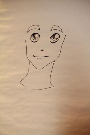 Här har Mats tecknat ögon, näsa, ögonbryn och mun på en manga-figur...