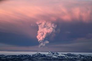 Vulkanen Grimsvötn fick i lördags sitt första utbrott sedan 2004.
