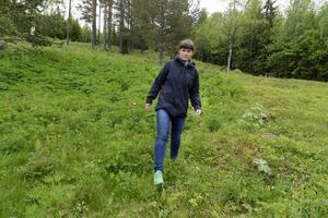 Annika Carlsson, biolog på länsstyrelsen, är oroad över hur lupinerna tar över stora fält.