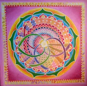 Judit Ellinor Eks färgsprakande tavlor är gjorda med tempera, akryl eller färgpennor men hon har även använt akvarell och torrpastell.
