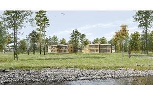 Orsabostäder bygger två hyreshus med tvåor och treor med glasade balkonger ut mot Orsasjön. Fotomontage: Orsabostäder