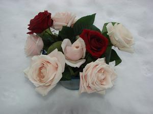 En skål med rosor i snöhögen. Hoppet finns om blommigare tider.