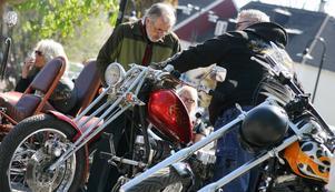 Motorcyklarna på Hökartorget var en av många utställningar som lockade.