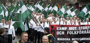 Nazistiska Nordiska motståndsrörelsens  demonstration i Borlänge.