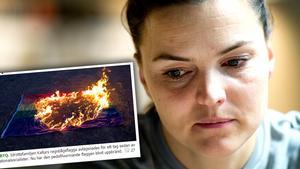 Faksimilen är från Nordfronts hemsida. De har publicerat bilden på den brinnande regnbågsflaggan som stals från familjen Kallurs tomt.