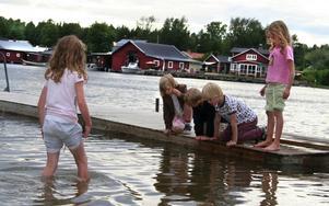 Äntligen på bryggan. Sigrid Svennewall, Kalle Andersson, Joar Svennewall och Jenna Lawrey. I vattnet står Julia Lawrey.