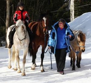 – Jag har varit hästtokig sedan barnsben, säger Astrid Borg. Nu har hennes intresse gått i arv till dottern Sara, 11, som tävlar med familjens två ponnyer.