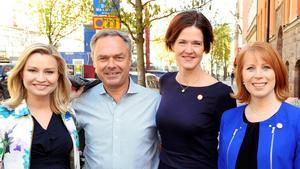 Alliansens fyra partiledare Ebba Busch Thor (KD), Jan Björklund (L), Anna Kinberg Batra (M) och Annie Lööf (C).