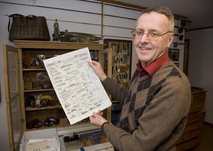 Hans-Erik med 1870 års dragkatalogblad från svenska Leidensdorff. Han har flera av dragen i sin samling.