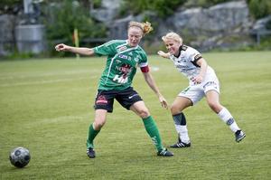 Sara Nordin i Själevads tröja. Hon lämnade moderklubben efter säsongen 2011. Har sedan dess spelat för fem klubbar. Det mesta tyder på att det blir en sjätte. Bild: Robbin Norgren