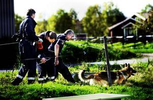 Kriminaltekniker från flera håll i landet och en kriminalsökhund fanns på plats i Äppelbo för att undersöka den stora fastigheten.