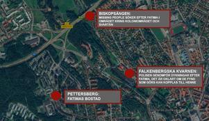 Karta över de platser som hittills har varit intressanta i utredningen kring Fatima Berggrens försvinnande.