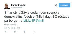 Ingen politiker – men Aftonbladets ledarskribent Daniel Swedins tweet får illustrera hur nyheten spred sig utanför stadens gränser.