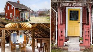 Gård i bymiljö i Barkargärdet med uthuslänga med lägenhet innehållande rum, kök med vedspis och bakugn,