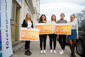 Årets UF-företagere i Hudiksvall, Frida Kling, Iggesund, Beverly Law, Hudiksvall, Victoria Sundberg, Bjuråker, Felicia Östby Andersson, Näsviken och Linnea Olsson, Hudiksvall.