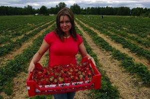 Premiär. Ewa Blachowska med några kilo dagsfärska jordgubbar. Hon basar för den enda jordgubbsodlingen som finns i Ovansiljan.