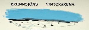 Brunnsjöns Vintervänner har satt upp en skylt för att visa hur arenan ser ut vintertid på isen.