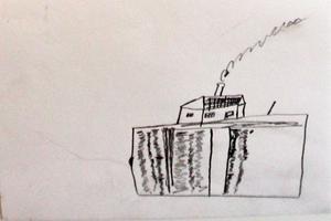 Den här teckningen är ritad av en patient som levt på en lantgård.