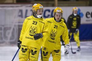Johan Löfstedt, till vänster, var lysande när Vetlanda slutade femma i elitserien förra säsongen. Kan fjolårets framgångar locka mer publik till Sapa Arena?