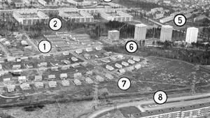 9 december 1961. En flygbild över Norra Haga-området som före 1956 mest utgjordes av skogsmark.
