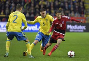 Victor Lindelöf under lördagens VM-kvalmatch mellan Sverige och Luxemburg.