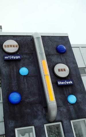 Panelen på Gästrike vatten visar Gävlebornas vattenförbrukning under dygnet.