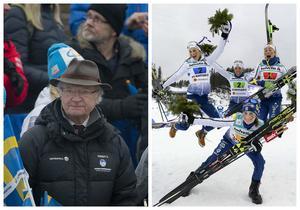 Kung Carl XVI Gustaf hyllade det svenska stafettlaget efter VM-silvret i Lahtis – och inte minst Ebba Andersson.