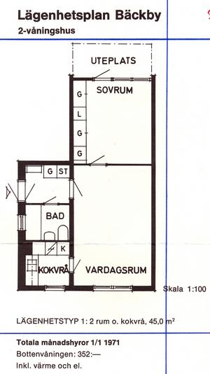 Två rum och kokvrå i ett tvåvåningshus på Bäckby. Totala månadshyran hos Mimer i januari 1971 352 kronor inklusive värme och el.