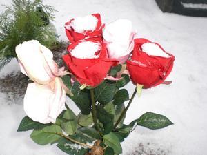 En så vacker bukett med frusna rosor!