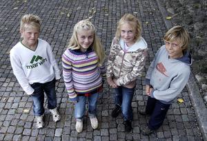 År 2005. Linus Sjöberg, Vanessa Hellman, Erika Håvedal, Victor Nilsson  Lindelöf – Milan Junior Camp-vinnare. Vigge är elva år på bilden.