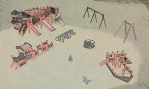 Noratema. Så här är den nya lekplatsen i Skolparken tänkt att se ut.